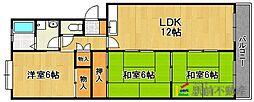 福岡県福岡市東区和白丘1丁目の賃貸マンションの間取り