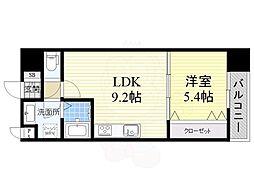 JR阪和線 三国ヶ丘駅 徒歩4分の賃貸マンション 6階1LDKの間取り