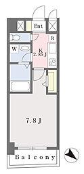 ブラン東光 3階1Kの間取り