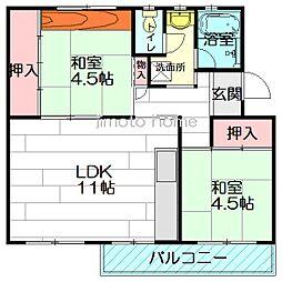 箕面粟生第2住宅2号棟[3階]の間取り