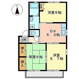 バリュージュサナダ B棟[1階]の間取り