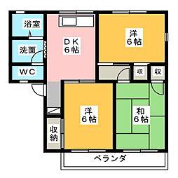 岩崎ハイツB[2階]の間取り