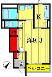 千葉県柏市永楽台1の賃貸アパートの間取り