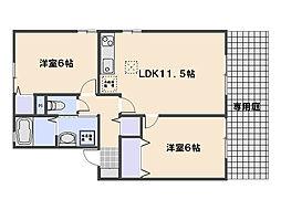ファミール三筋 B棟[1階]の間取り
