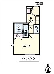 メゾン加納栄町通E 3階1Kの間取り