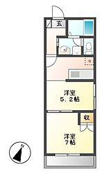 平成ハイツ[2階]の間取り
