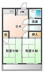 西野アパート3[2階]の間取り