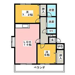 愛知県弥富市五明1丁目の賃貸マンションの間取り