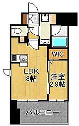 グランフォーレ小倉シティタワー 13階1LDKの間取り