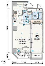 リヴシティ上野入谷[1001号室]の間取り