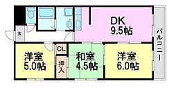 園田シティハイツ[3階]の間取り