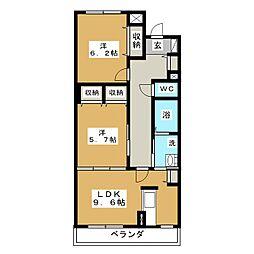 ブルースカイマンションIII[5階]の間取り