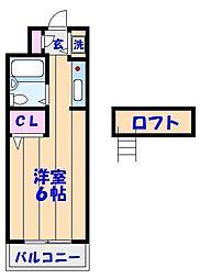 スカイハイム津田沼[302号室]の間取り
