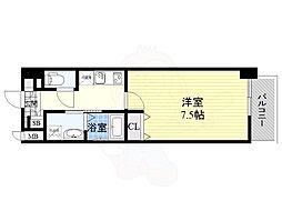 Osaka Metro谷町線 南森町駅 徒歩7分の賃貸マンション 8階1Kの間取り