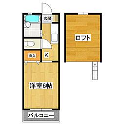 茨城県つくば市二の宮3丁目の賃貸アパートの間取り