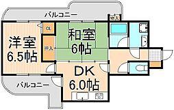 グリーンキャピタル亀有[601号室]の間取り