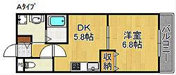 メゾンディーズ 3階1DKの間取り
