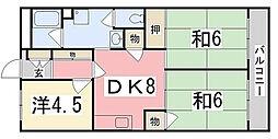 兵庫県姫路市広畑区長町2丁目の賃貸マンションの間取り