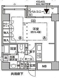 東京メトロ有楽町線 辰巳駅 徒歩9分の賃貸マンション 11階ワンルームの間取り