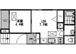 ジュネスtrois新大阪[3階]の間取り