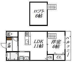 大阪府大阪市生野区田島2丁目の賃貸アパートの間取り