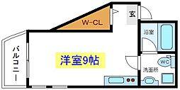 JR常磐線 亀有駅 徒歩9分の賃貸マンション 5階ワンルームの間取り