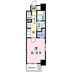 クラール上福岡 5階1Kの間取り