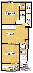 ルート3&MY5 1階2DKの間取り