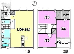 [一戸建] 愛媛県松山市中村1丁目 の賃貸【/】の間取り
