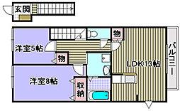 ジンシャン 2階2LDKの間取り