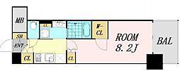 ザパークハビオ堂島 13階ワンルームの間取り