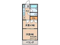 京都府京都市伏見区東朱雀町の賃貸マンションの間取り
