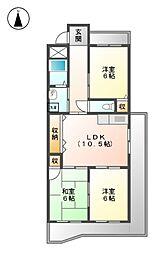 エスポワ−ル鳩岡[3階]の間取り