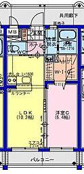 (仮称)川南町マンション 3階1LDKの間取り