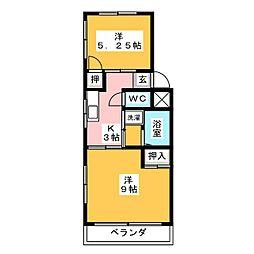 サンハイツ岩塚 A棟[2階]の間取り