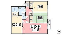 兵庫県姫路市広畑区蒲田の賃貸アパートの間取り