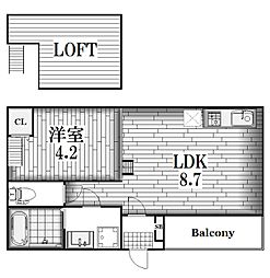 モメンタム志賀本通[2階]の間取り
