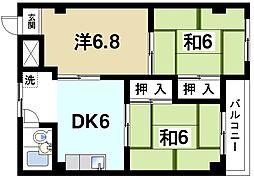 奈良県奈良市大宮町3丁目の賃貸マンションの間取り