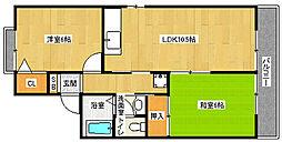京都府京都市西京区桂上野中町の賃貸アパートの間取り