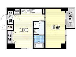 南海高野線 堺東駅 徒歩8分の賃貸マンション 3階1LDKの間取り
