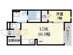 大阪モノレール 沢良宜駅 徒歩32分の賃貸マンション 3階1LDKの間取り