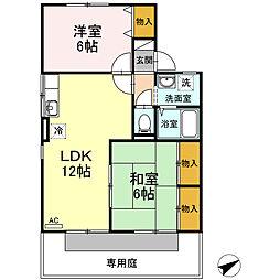 ファミール西京B棟[1階]の間取り
