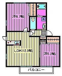 クレストコートII[2階]の間取り