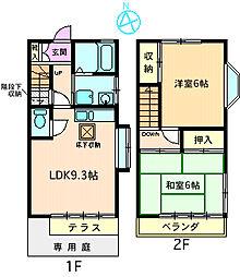 [テラスハウス] 神奈川県海老名市上今泉5丁目 の賃貸【神奈川県 / 海老名市】の間取り