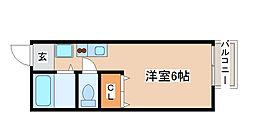 神鉄粟生線 緑が丘駅 徒歩30分の賃貸アパート 2階ワンルームの間取り
