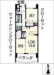 中日マンション第三上飯田[4階]の間取り