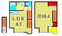 JR常磐線 三河島駅 徒歩6分の賃貸アパート 2階1LDKの間取り