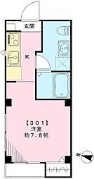 東急池上線 荏原中延駅 徒歩6分の賃貸マンション 3階ワンルームの間取り