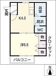 ドリーム B棟(1DK)[1階]の間取り