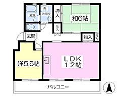 村田石コーポ3階Fの間取り画像